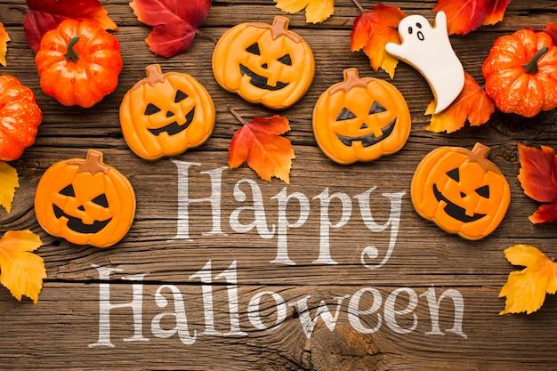 Guloseimas e abóboras de halloween