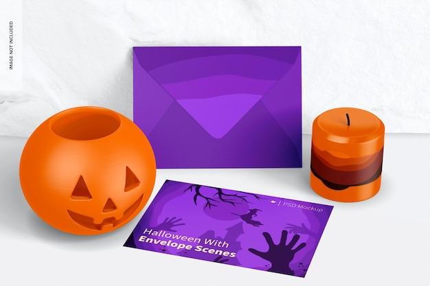 Halloween com modelo de cena de envelope, inclinado