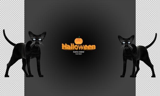 Halloween gato preto renderização em 3d