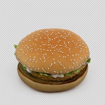 Hambúrguer 3d isolado render