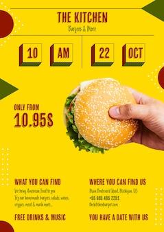 Hambúrguer americano com menu de oferta especial