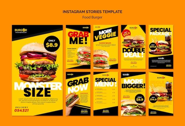 Hambúrguer com oferta especial de histórias nas redes sociais