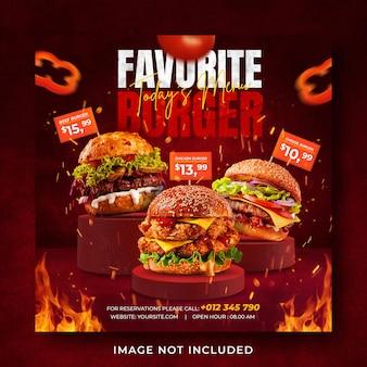 Hambúrguer comidinha menu promoção mídia social modelo de post banner Psd Premium