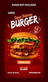 Hambúrguer de menu de comida e modelo de instagram de restaurante e história do facebook
