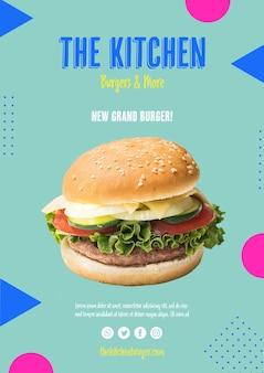 Hambúrguer de menu de cozinha com alface
