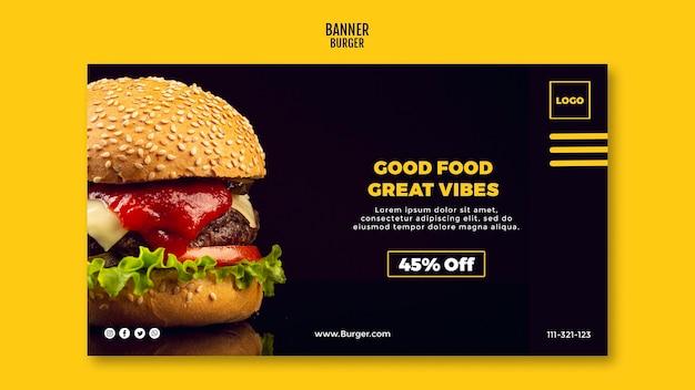 Hambúrguer de modelo de banner