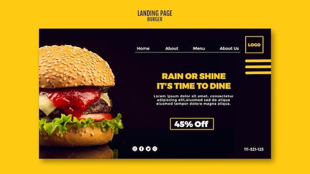 Hambúrguer de modelo de página de destino