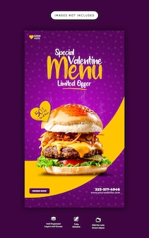 Hambúrguer delicioso de dia dos namorados e menu de comida instagram e modelo de história do facebook