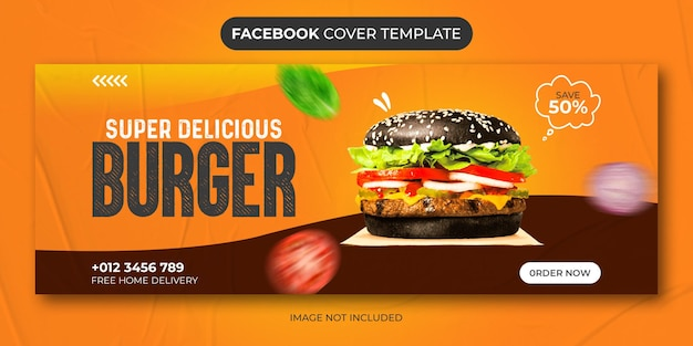 Hambúrguer delicioso menu de comida e hambúrguer mídia social modelo de capa do facebook