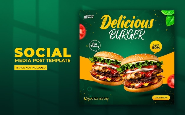 Hambúrguer delicioso nas redes sociais e modelo de postagem no instagram