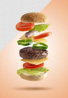Hambúrguer voador com pão e vegetais renderizados