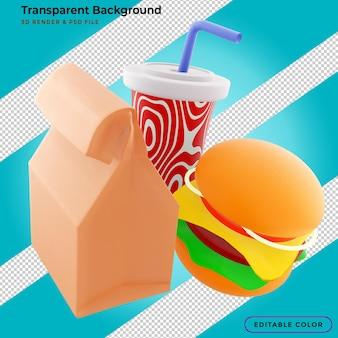 Hambúrgueres donuts, batatas fritas e refrigerantes renderização em 3d