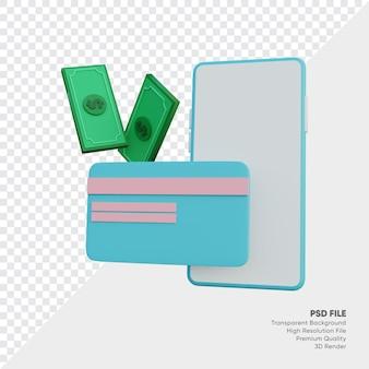 Handphone, cartão e dinheiro renderizados em 3d
