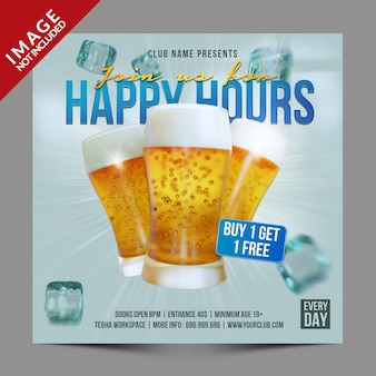 Happy hours para restaurant cafe bar postagem em mídia social ou folheto promocional modelo premium psd