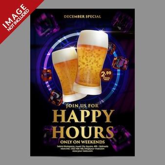 Happy hours para restaurante café bar postagem em mídia social ou modelo de promoção de panfleto