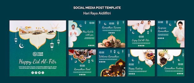 Hari raya aidilfitri publicação em mídia social