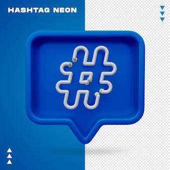 Hashtag neon 3d realista