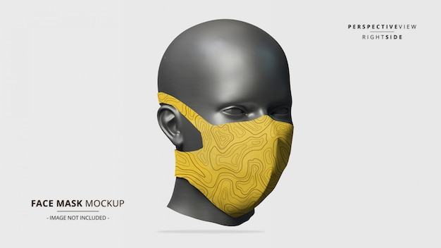 Headloop face mask mockup perspective view lado direito - manequim feminino