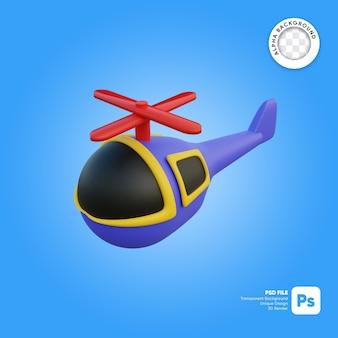 Helicóptero voando estilo desenho animado frente olhar objeto 3d