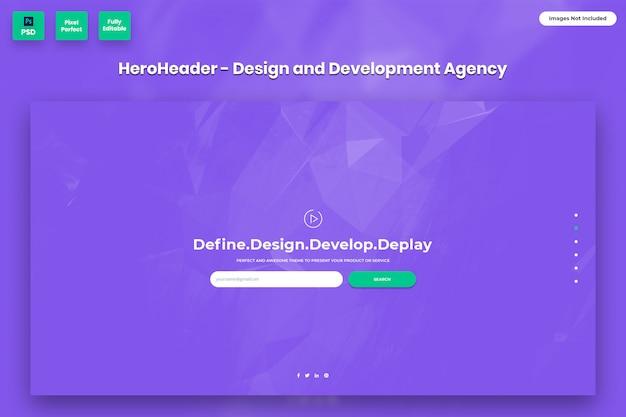Hero header para sites de agências de design