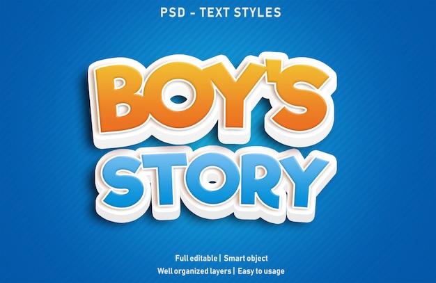 História de meninos efeitos de texto estilo psd editável
