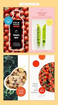 História de mídia social no tema de produtos orgânicos