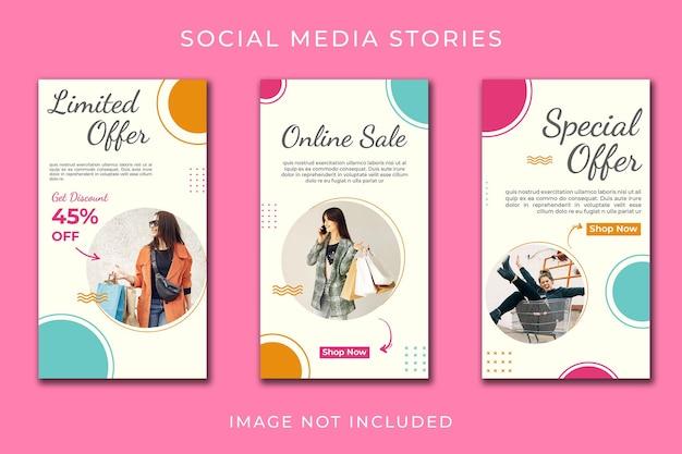 História do instagram ou banner vertical para conjunto de modelos de loja online