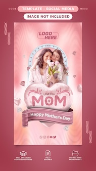 História em banner de mídia social feliz dia das mães com texto editável