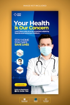 História médica do instagram de saúde premium psd template sobre coronavirus or convid-19