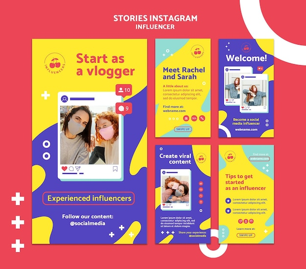 Histórias coloridas de influenciadores nas redes sociais