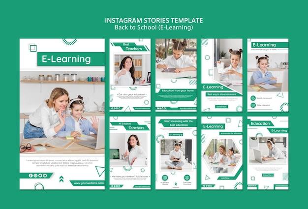 Histórias criativas de mídia social de e-learning