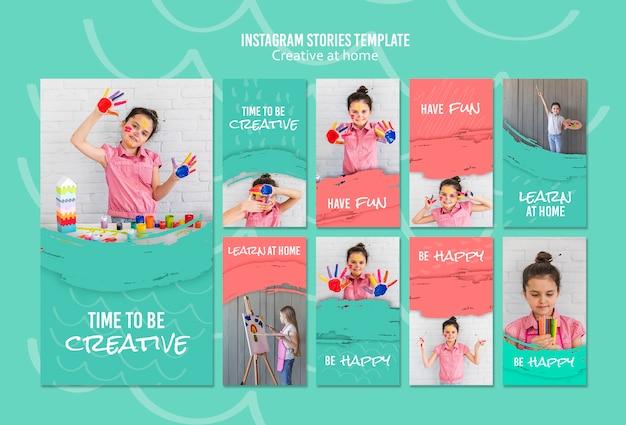 Histórias criativas do instagram em casa