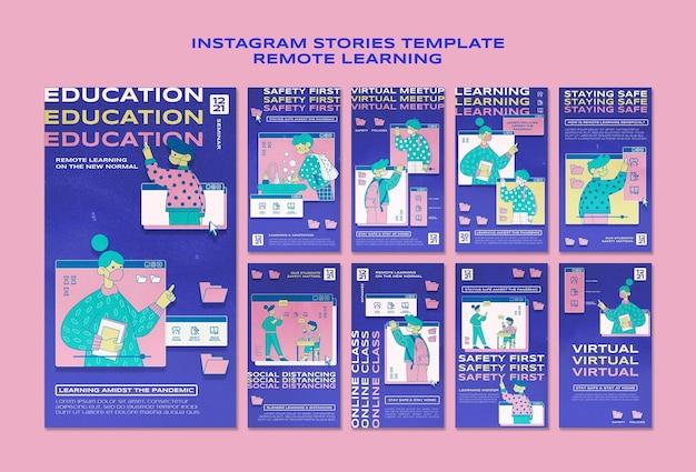 Histórias de aprendizagem remota no instagram