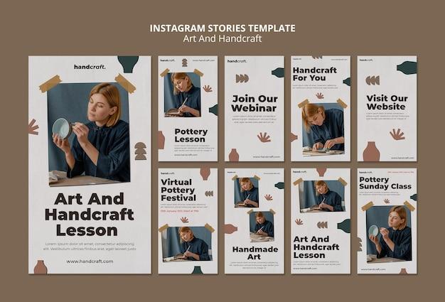 Histórias de arte e artesanato no instagram Psd Premium