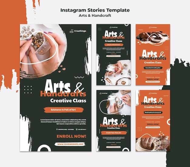 Histórias de artes e artesanato nas redes sociais