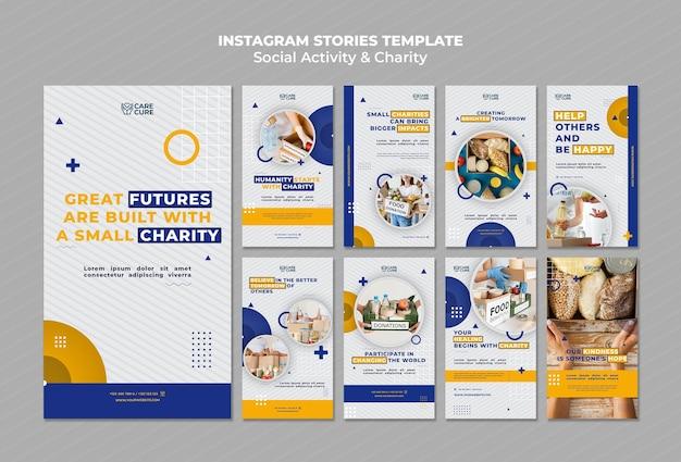 Histórias de atividades sociais e caridade no instagram