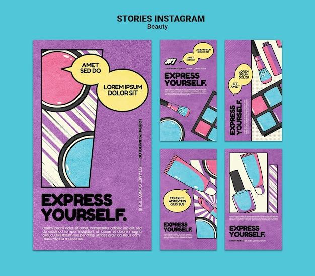 Histórias de beleza nas redes sociais da pop art