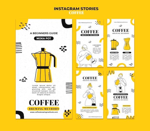 Histórias de café no instagram