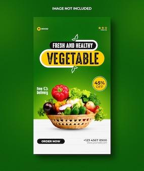 Histórias de comida e vegetais saudáveis no instagram