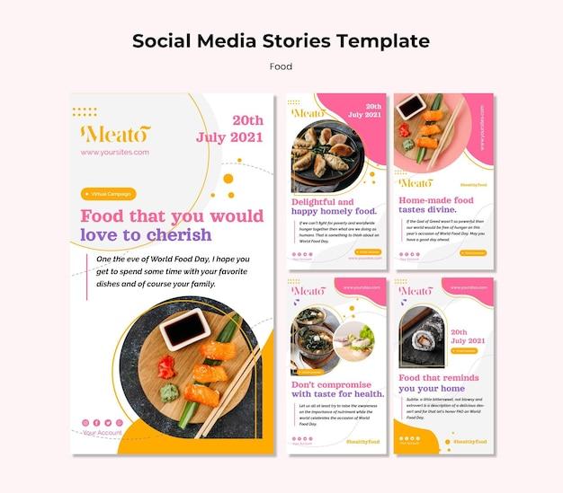Histórias de comida nas redes sociais