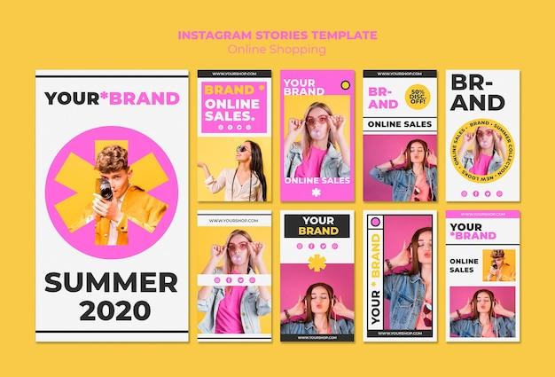 Histórias de compras on-line de verão no instagram