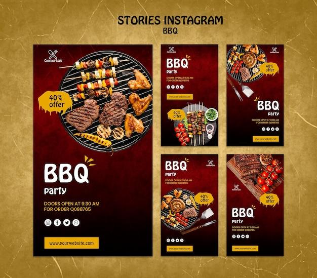 Histórias de conceito de churrasco instagram tamplate