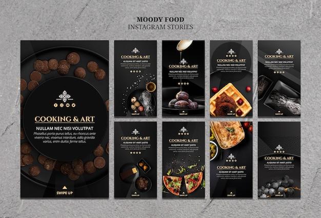 Histórias de culinária e arte no instagram