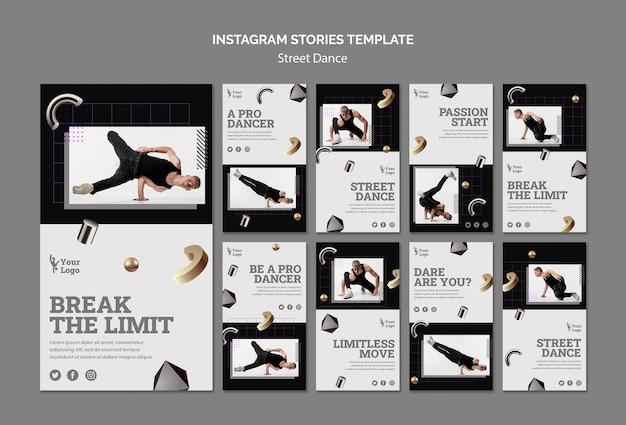 Histórias de dança de rua no instagram