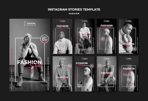 Histórias de desfile de moda no instagram