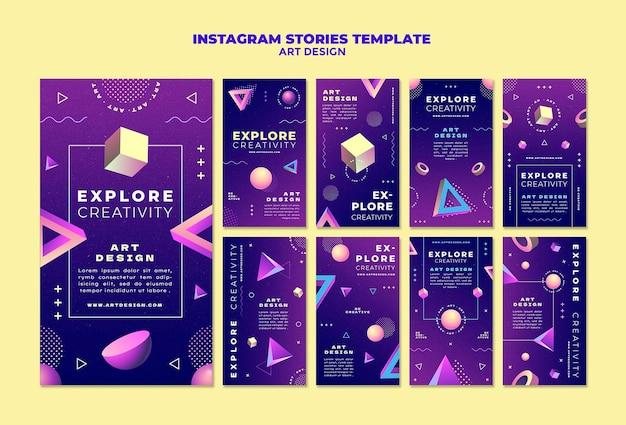 Histórias de design de arte nas redes sociais
