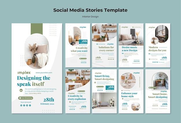 Histórias de design de interiores nas redes sociais