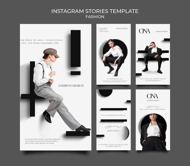Histórias de design de moda nas redes sociais