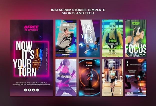 Histórias de esportes e tecnologia do instagram