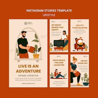 Histórias de estilo de vida nas redes sociais